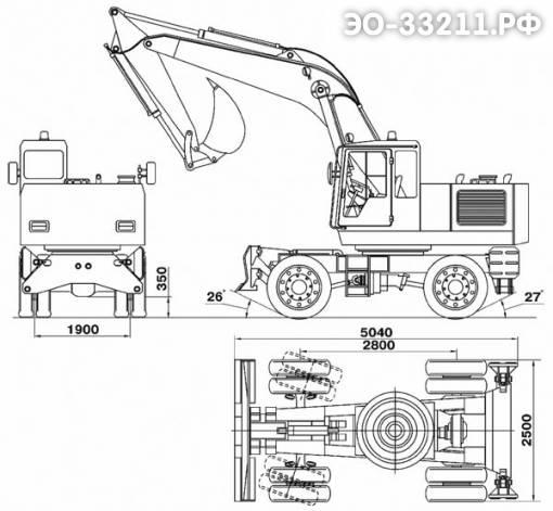 Размеры экскаватора ЭО-33211