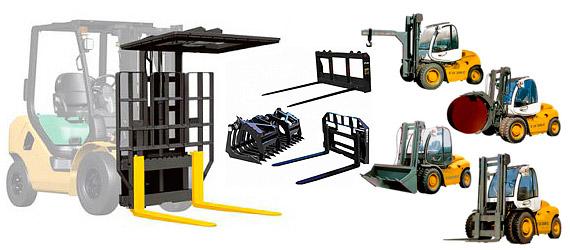 Вилочные погрузчики с некоторыми видами навесного оборудования