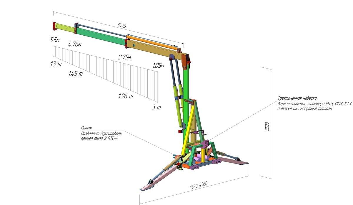 Схема стрелы для трактора