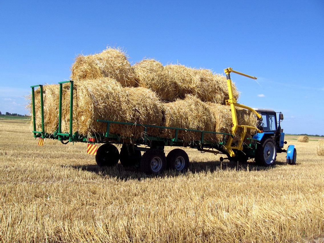 Фото: зеленая страда - специальный прицеп для транспортировок тюков