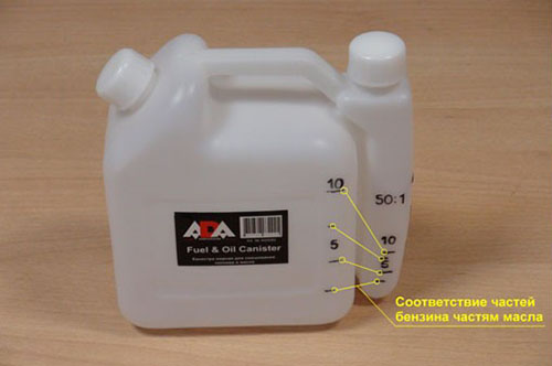 дозировка масла и бензина