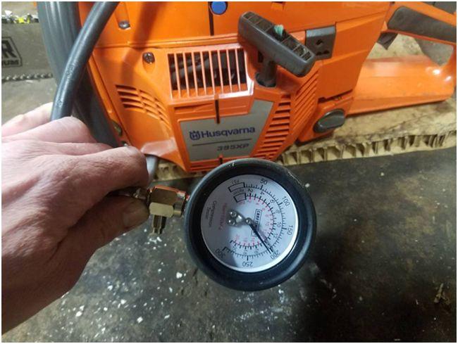 измерение компрессии в бензопиле