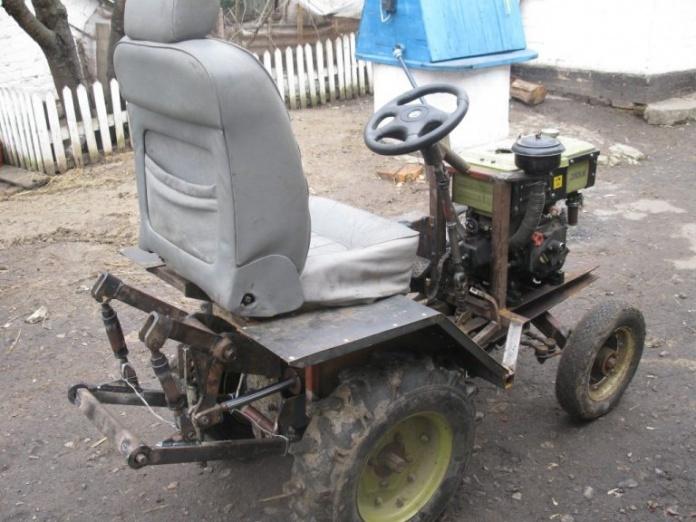 Руль и колеса самодельного минитрактора