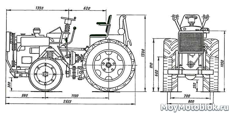 Размеры мини-трактора: чертеж