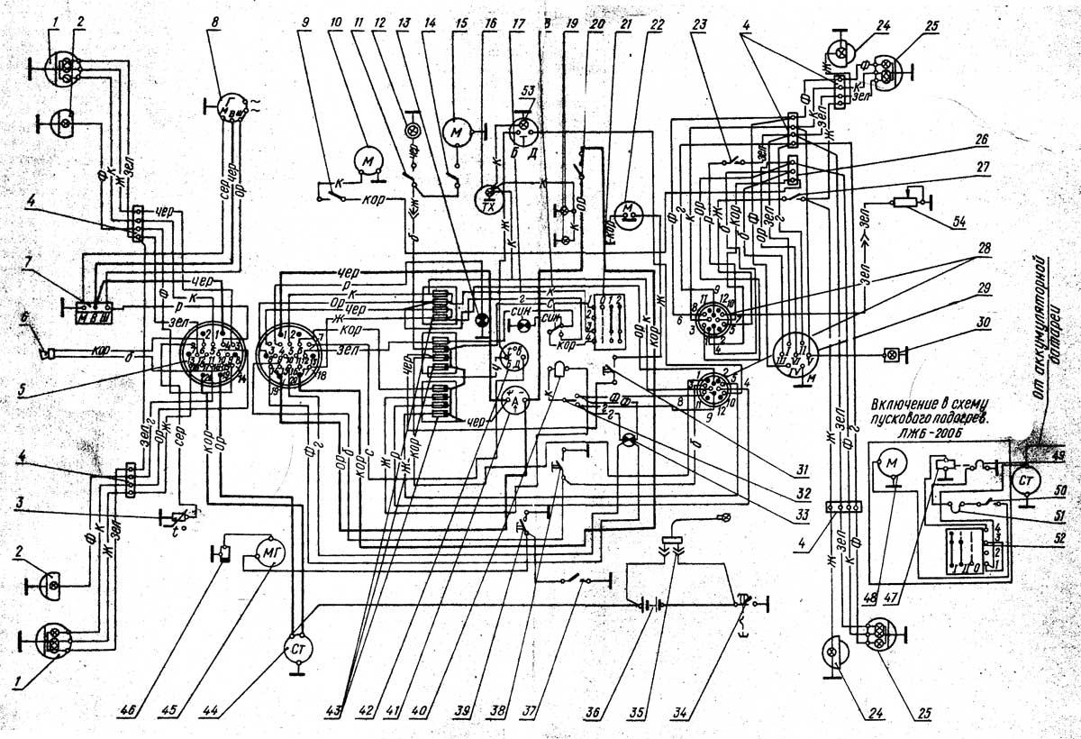 Схема электрооборудования трактора МТЗ-80Л/82Л